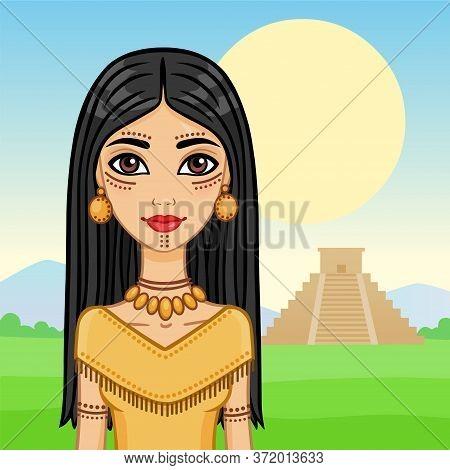 Animation Girl Southern American India Against A Pyramid Maya.