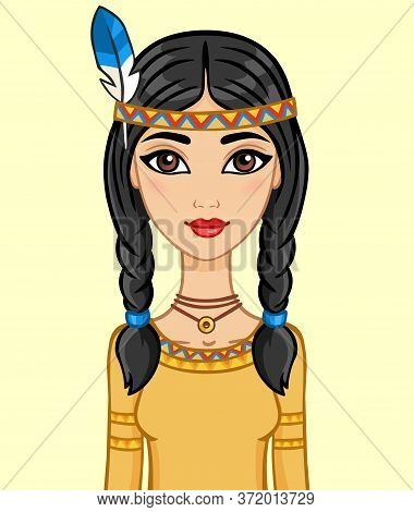 Animation Girl The North American Indian, Isolated.