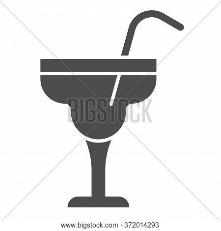 Glass With Margarita Cocktail Solid Icon, Alcohol Drinks Concept, Cocktail Sign On White Background,
