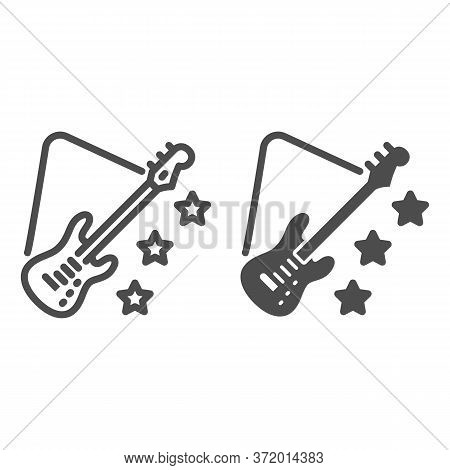 Guitar Line And Solid Icon, Music Festival Concept, Electric Guitar Sign On White Background, Guitar