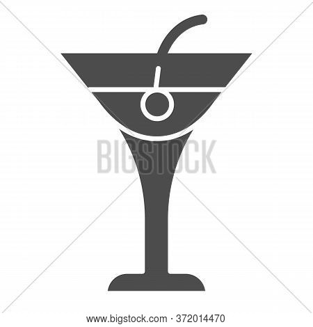 Cocktail Drink Solid Icon, Beverage Concept, Cocktail With Cherry Sign On White Background, Beach Co
