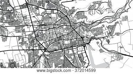 Urban Vector City Map Of Santiago De Queretaro, Mexico