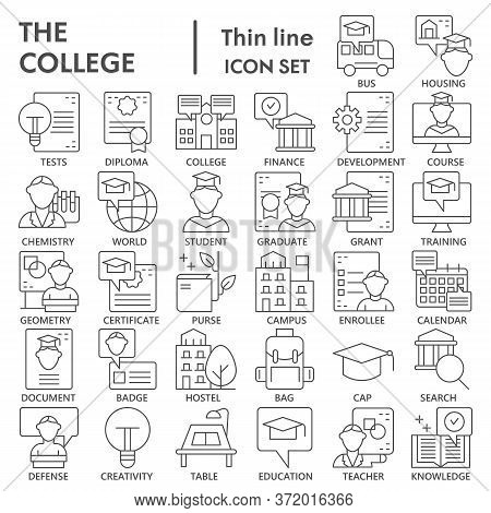 College Thin Line Icon Set, Education And School Symbols Collection Or Sketches. Business Education