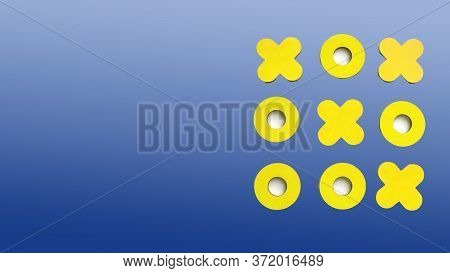 Kid Tic-tac-toe Wood Board Game. Yellow Figures On A Blue Background. Family And Friends Pastime Con