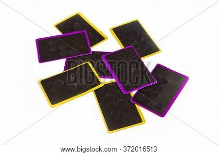 Kid's Play Cards For Games Lying Back On White Background. Board Games For Children And Adults. Fami