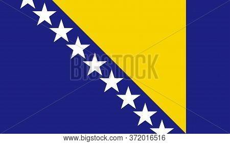 Bosnia Herzegovina Flag, Official Colors And Proportion Correctly. National Bosnia Herzegovina Flag.