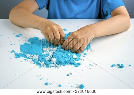 Kids Creativity. Kinetic Sand Games For Child Development At Home. Sand Therapy. Children\'s Hands M