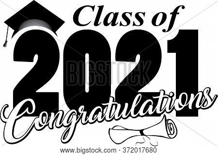 Class Of 2021 Congratulations Graduation Banner With Diploma And Cap