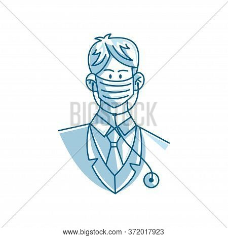 Illustration Of Male Doctor Character Wearing Mask Vector Cartoon