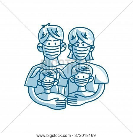 Parents And Children Wearing Protective Medical Mask For Prevent Virus Vector Healthcare Concept
