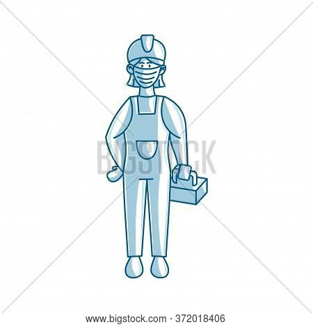 Worker Woman Construction Wearing Medical Mask Vector