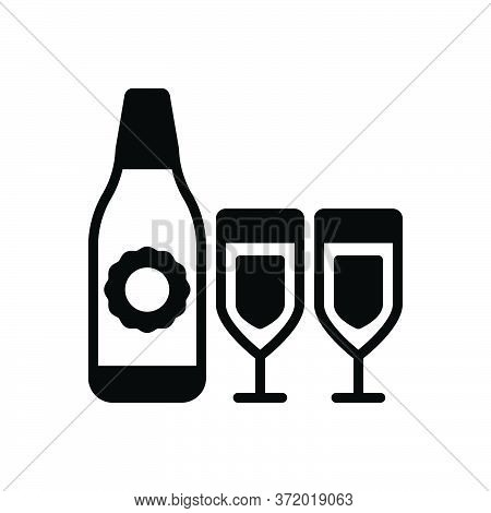 Black Solid Icon For Drink Win Bottle Glass Beverage Quencher Tipple Celebration