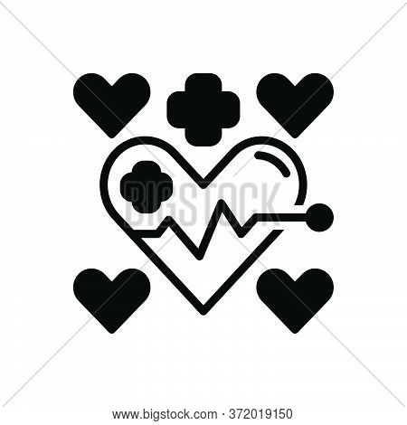 Black Solid Icon For Health Medical  Healthcare Heart Cardiology Wellness