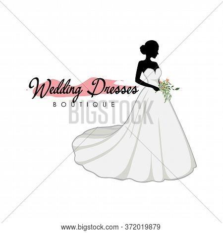 Beautiful Bride With Flower Bouquet, Bridal Boutique Logo, Bridal Gown Logo Vector Design Template