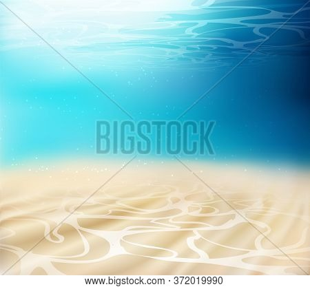 Realistic Underwater Background. Ocean Deep, Sea Under Water Level, Sun Rays Blue Wave Horizon. Azur