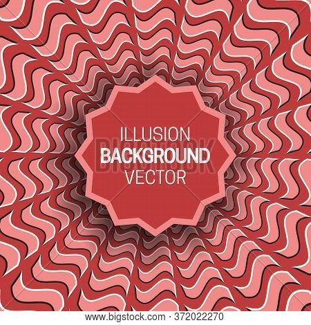 Round Frame On Red Optical Illusion Hypnotic Background Of Rotating Wavy Quadrangles Pattern.