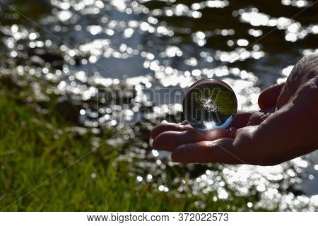 Man Holding Glass Ball In The Forest By The River/ Sphere In The Forest/ Beautiful Forest Reflection