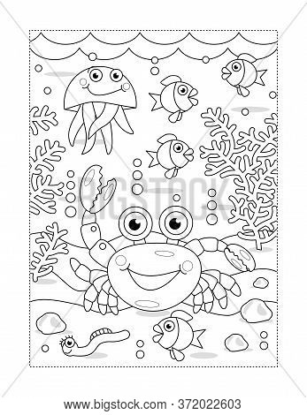 Coloring Page With Cartoon Underwater Scene And Crab, Fish, Jellyfish, Algae