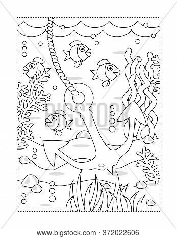 Coloring Page With Cartoon Underwater Scene And Anchor, Fish, Algae, Waves