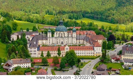 Ettal Abbey, Called Kloster Ettal, A Monastery In The Village Of Ettal, Bavaria, Germany - Aerial Ph