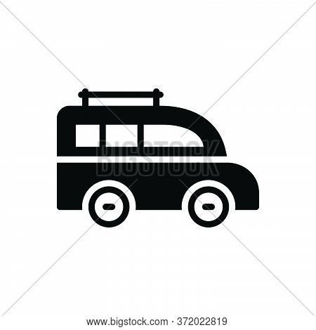Black Solid Icon For Van Transport Carriage Vehicle Conveyance Mini-bus