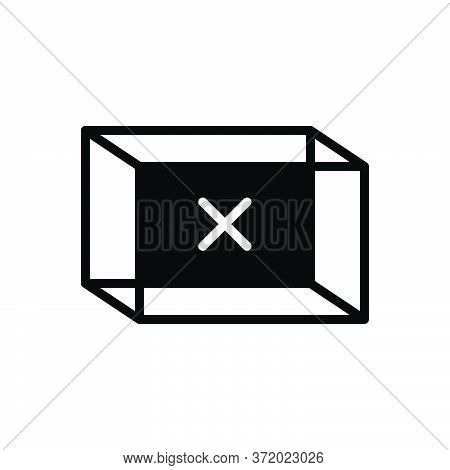 Black Solid Icon For Empty Box Blank Vacant Container
