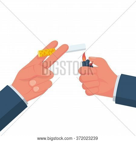 Cigarettes And Lighter In Hand Man. Light A Cigarette. Smoker Holds A Smoking Cigarette. Vector Illu