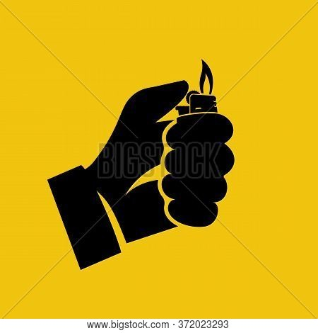 Black Icon, Silhouette Hand Holding Lighter. Vector Illustration Flat Design. Isolated On Yellow Bac
