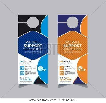 Cooperate Door Hanger And Modern Door Hanger Mockup Door Hanger Template, Flyer Concept, Colors Sche