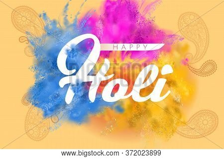 Happy Holi Illustration Of Abstract Colorful Paint Color Powder Splash Background For Color Festival