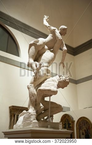 Florence, Italy - October 2019: Plaster Cast Of The Rape Of The Sabines By Giambologna Exhibited At