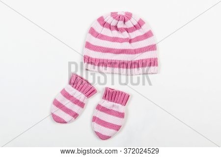 Knitted Hat And Mittens For Winter. Baby Winter Mittens And Hat Set