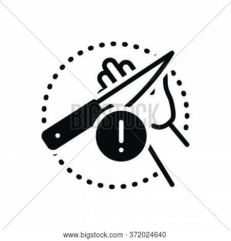 Black Solid Icon For Carefulness Cautious Knife Careless Negligent Alert Warning Admonition