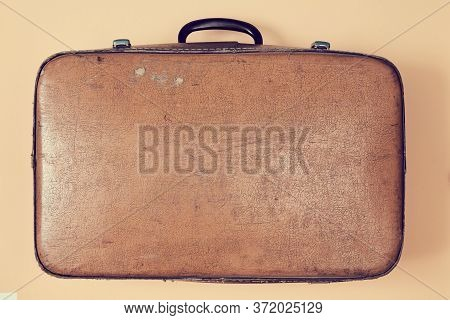 Retro Leather Brown Suitcase For Travel, Trip. Vintage Travel. Grandparents Trip. Travelling Concept
