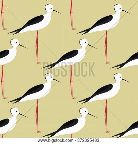 Bird. Little Heron. Seamless Background. Vector Illustration.