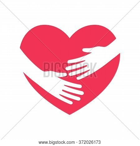Hug The Heart. Hands Embracing Heart Flat Logo. Symbol Of Love And Social Assistance. Red Silhouette