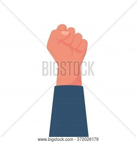 Hand Male Clenched Fist Raised To Top. Can Be Used As A Winner, Revolutionary, A Rebel. Show Fist. S