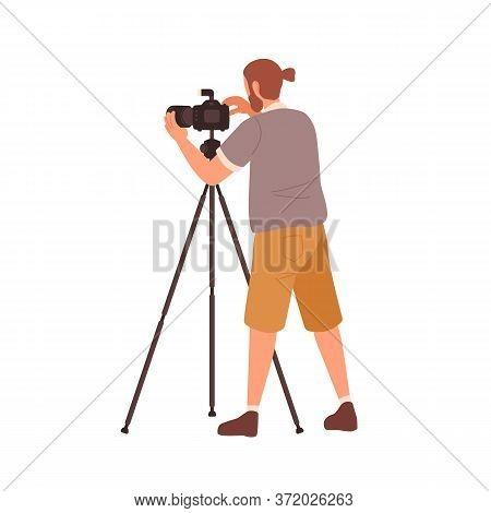 Hipster Male Photographer Use Tripod Camera Vector Flat Illustration. Guy Photojournalist Take Photo