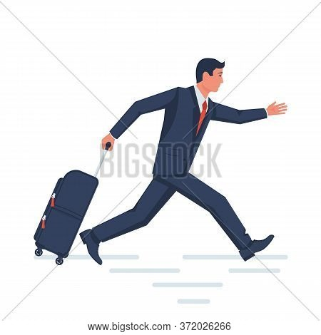 Running Businessman With A Travel Suitcase. Airport Late Arrival Template For Vacation. Vector Illus
