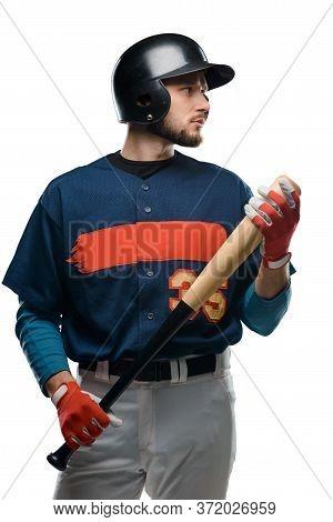 Portrait Of A Baseball Batter On White Background