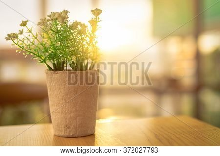 Fake White Flowers With Green Leaves In Recycled Paper Pot On Brown Wooden Table In Coffee Cafe In T