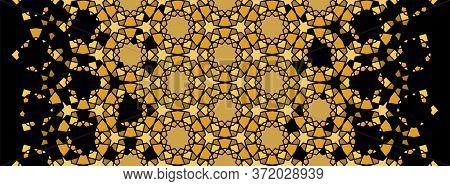 Arabesque Rich Gold Luxury Pattern. Arabesque Vector Seamless Pattern. Geometric Halftone Texture Wi
