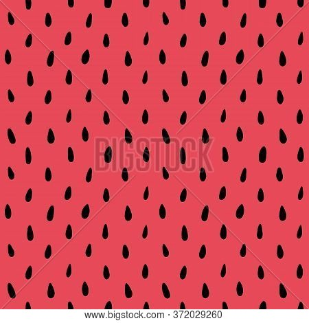 Watermelon Black Seeds On Pink Red Pulp Background, Seamless Pattern. Summer Fruit Print For Textile
