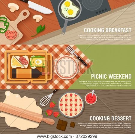 Culinary Breakfast Banner Flat Set With Frying Pan And Eggs, Weekend Picnic With Sandwiches, Wine, C