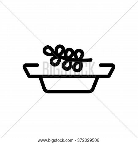Thyme Plant Branch On Plate Icon Vector. Thyme Plant Branch On Plate Sign. Isolated Contour Symbol I