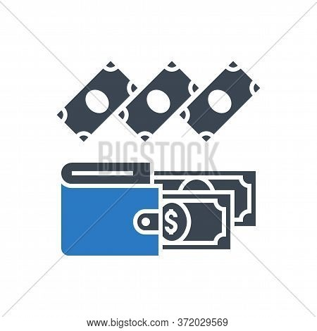 Expenses Related Vector Glyph Icon. Isolated On White Background. Vector Illustration.