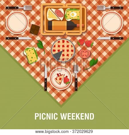 Vector Family Picnic Flat Glade Illustration. Food And Pastime Icons. Flat. Food Object, Picnic Item