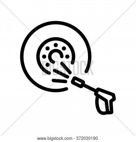 Wheel Pressure Washer Icon Vector. Wheel Pressure Washer Sign. Isolated Contour Symbol Illustration
