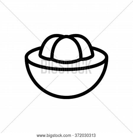 Mangosteen Sliced Piece Icon Vector. Mangosteen Sliced Piece Sign. Isolated Contour Symbol Illustrat