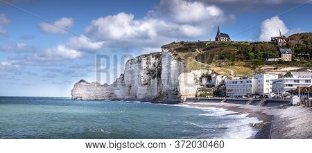 Panorama Landscape Of Etretat, Great Place In France To Visit. Wide Angle For A Great View, With Vib